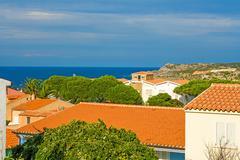 Stock Photo of view over houses, sardinia