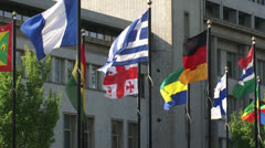 Flags zoom out - Int. Criminal Tribunal for the former Yugoslavia (ICTY) Stock Footage