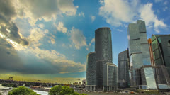 The Moscow sky-scrapers and clouds timelapse,RAW VIDEO:6K,4K & 1080p resolutions Stock Footage