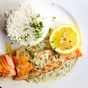 grilled salmon and rice - stock photo