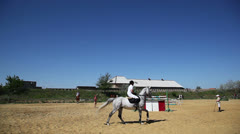 Preparation for horseback competitions Stock Footage