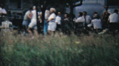Couples Dancing At Family Summer Picnic-1962 Vintage 8mm film - stock footage