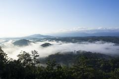 Fog Rolling over Great Smokey Mountains Stock Photos