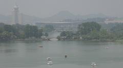 Xuanwu Lake by day, Nanjing, China Stock Footage