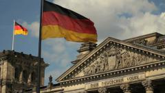 German flag fluttering at the Reichstsag Stock Footage