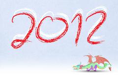 2012 year of the dragon . - stock illustration