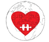 Red heart of   earth planet . Stock Illustration