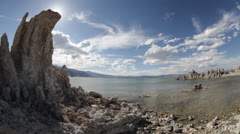 Mono Lake, California. Wide Angle Fish Eye Lens Stock Footage