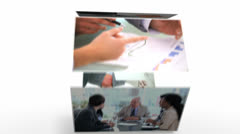 Revolving screens showing business situations Stock Footage