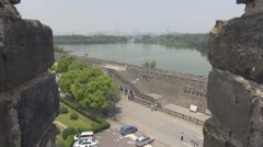 View to Xuanwu Lake and wall of Nanjing, China Stock Footage