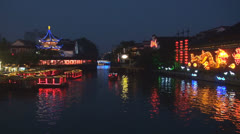 Old town in Nanjing and Qinhuai River in twilight, Nanjing, China Stock Footage