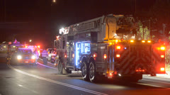 Firetruck With Emergency Lights On Stock Footage