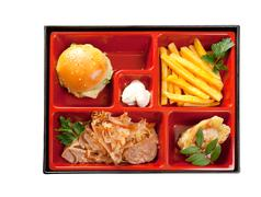 Japanese bento lunch .box of fast food with with pork,sandwich and vegetable Stock Photos