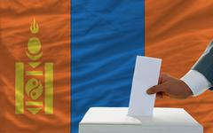 Stock Photo of man voting on elections in mongolia in front of flag