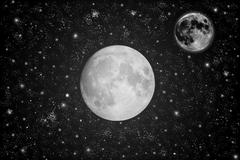 sky with full moon and stars. - stock illustration