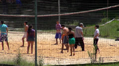 Volleyball, Playing Sports, Beach or Court - stock footage