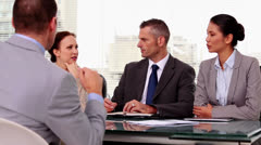 Business people listening to a job applicant Stock Footage