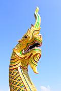 king of naga in temple of thailand. - stock photo