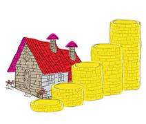Stack of coins and house icon as concept related to real state bussines . Stock Illustration