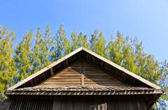 Details of southern thai house gable roof. Stock Photos