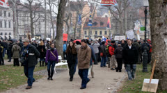 Slovenian people unhappy with government, protesting on Kongresni trg Stock Footage