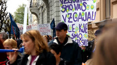 People unhappy with government attack on public sector in Slovenia Stock Footage