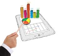 sketch computer tablet showing a spreadsheet with  charts . - stock photo