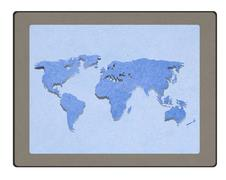 map on tablet pc computer monitor with staple recycled paper craft stick - stock illustration