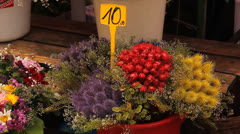 Flowers at the market Stock Footage