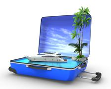 Package beach vacation concept yaht Stock Illustration
