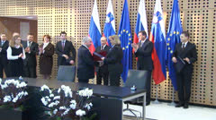 Vladimir Putin in Slovenia on collaboration meeting Stock Footage