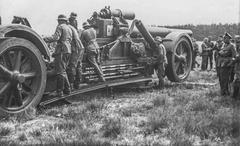 WW2 - German heavy artillery afield - stock photo