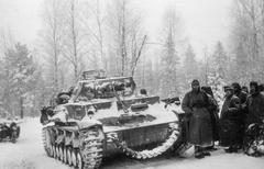 WW2 - Winter Panzer 4 with crew - stock photo