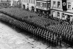 WW2 - German infantry platoon during parade - stock photo