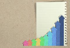 conceptual business charts with staple recycled paper craft stick . - stock illustration