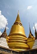 Stock Photo of golden pagoda inside emerald temple, thailand.