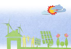solar cells station recycled paper craft stick on paper background . - stock illustration