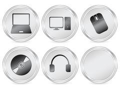 electronics circle icon - stock illustration