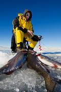 fishing success - stock photo