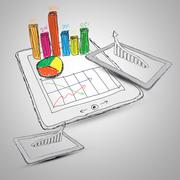 sketch computer tablet showing a spreadsheet with  charts - stock photo