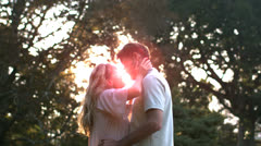 Delighted couple kissing in front of the sunset Stock Footage