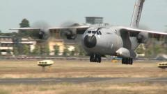 Airbus A400M Landing at the Farnborough Air Show - stock footage