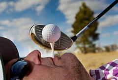 Human golf tee Stock Photos