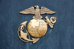 United States Marine Corps Insignia in Gold on Blue - stock photo