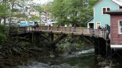 Ketchikan Alaska Creek Street bridge boardwalk HD 7603 Stock Footage
