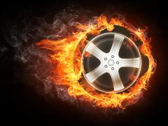 Car Wheel in Flame Stock Illustration