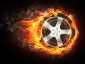 Stock Illustration of Car Wheel in Flame