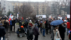 Big crowd of protestors against Slovenia government in front of parliament Stock Footage