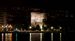 White Tower of Thessaloniki, Night View -  Panning Stock Footage