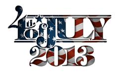 forth of july 2013 lettering cut-out - stock illustration